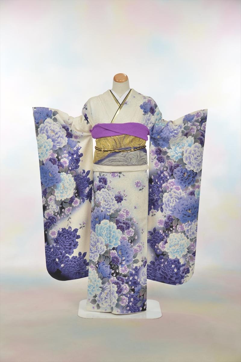 白地に紫花