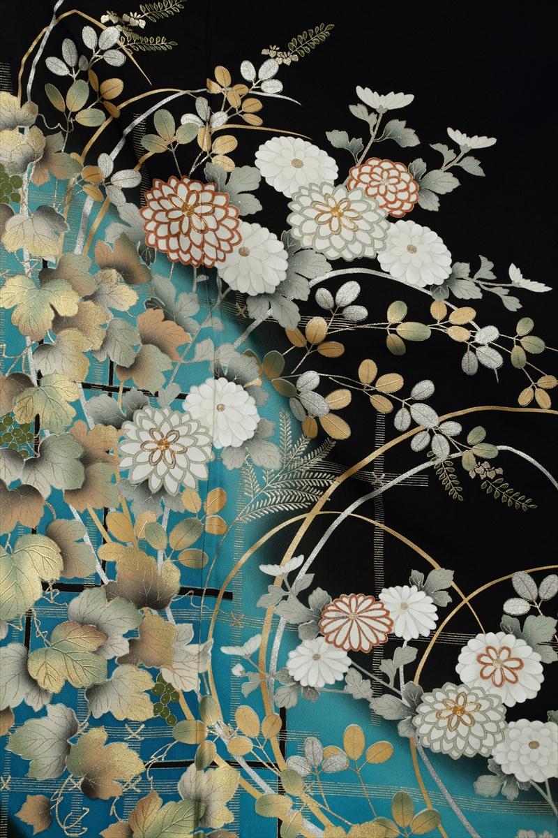 ブルー地に白花サブ画像1