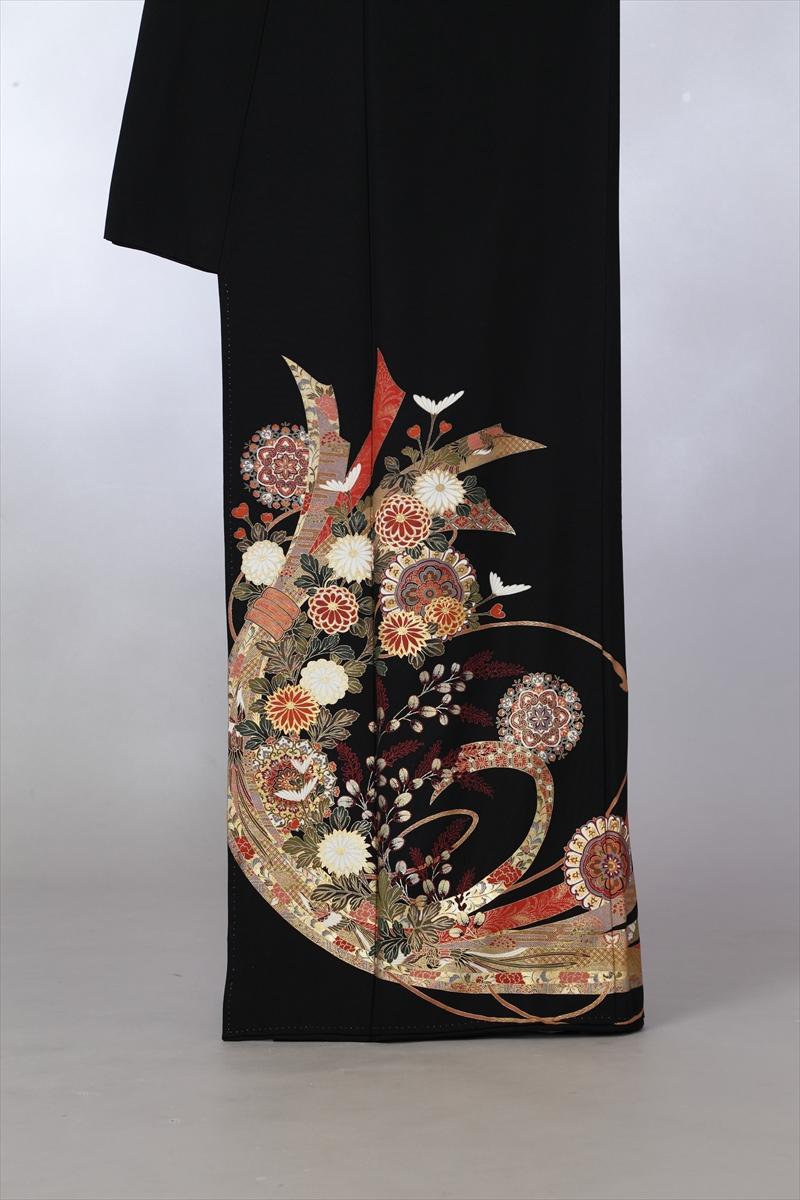 束熨斗目に花